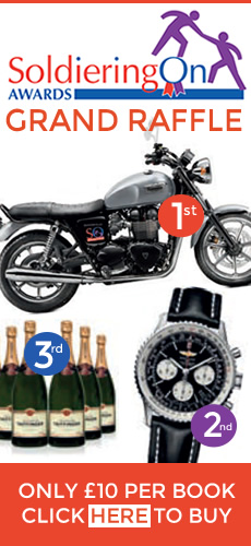 Grand Raffle, Triumph, Bonneville, Breitling, Taittinger, Champagne, draw 18 Apr 15, Soldiering On Awards